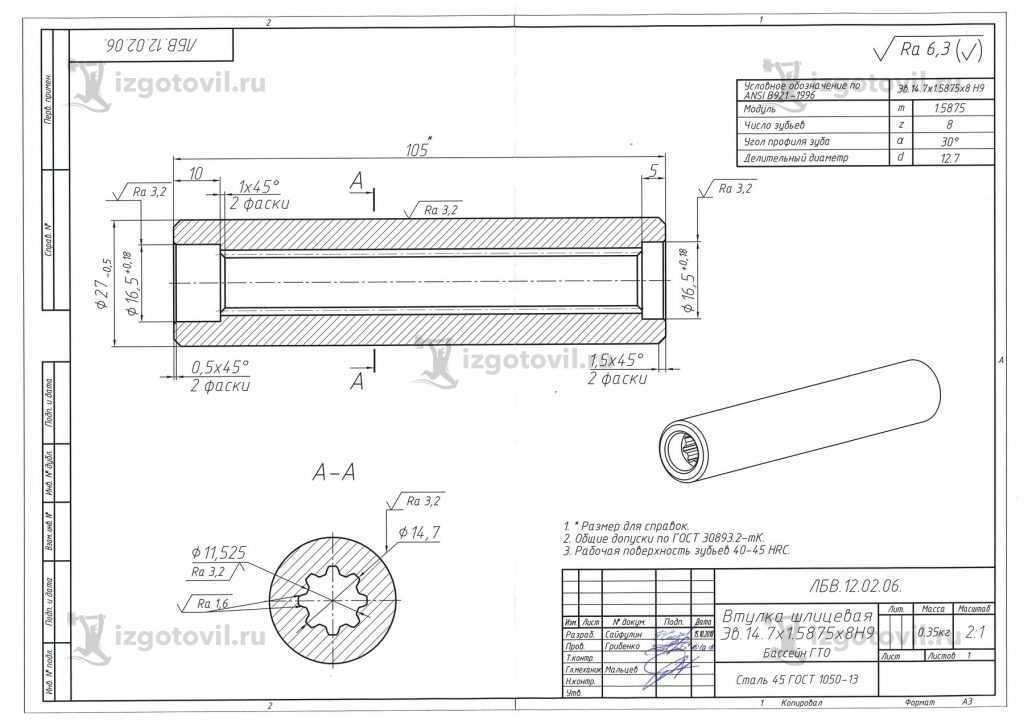 Токарная обработка деталей (Втулка 105-27-14,7).