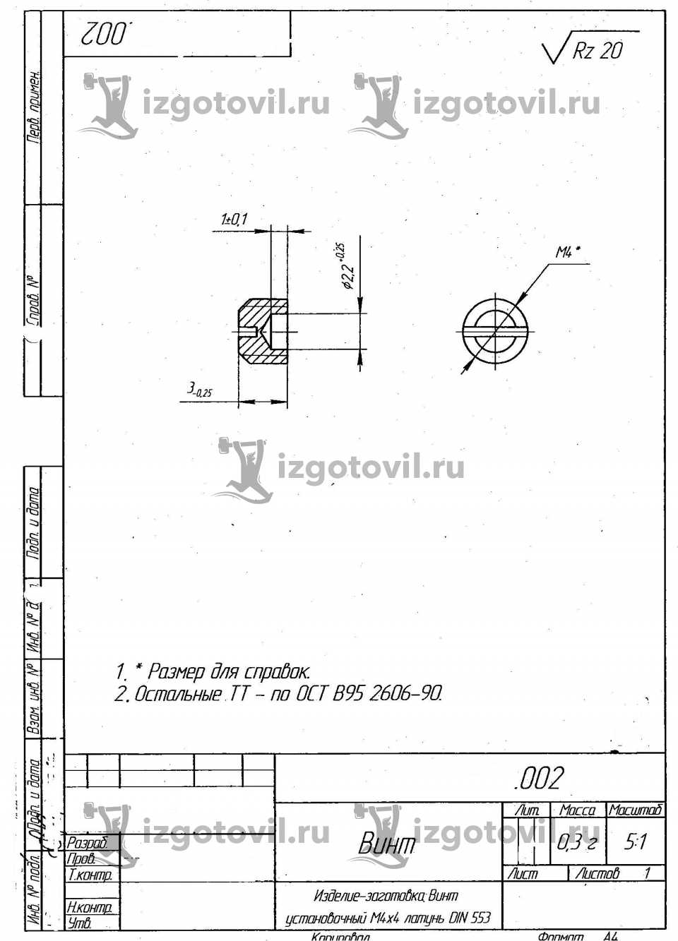 Токарная обработка ЧПУ - винт