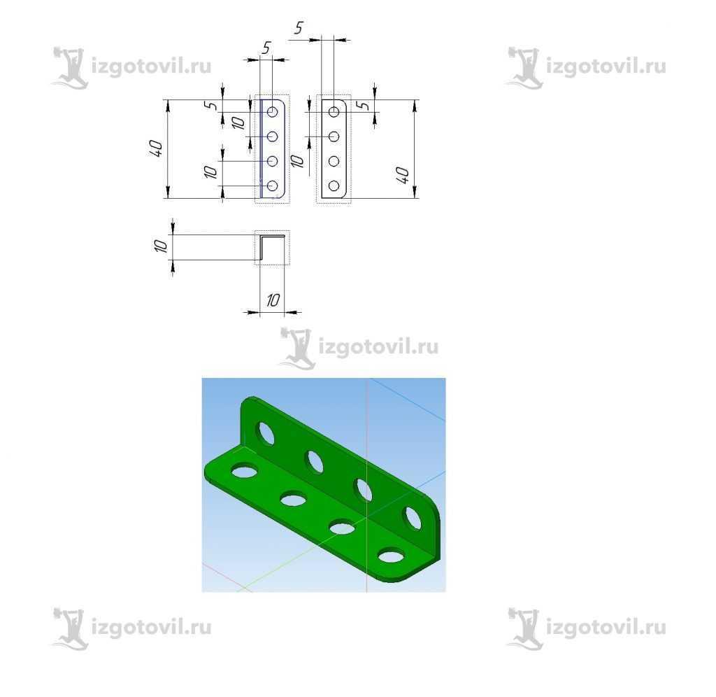 Изготовление маленьких деталей (плоские детали, из листа металлического 0.8 мм. оцинкованного. Пробивка и гибка)