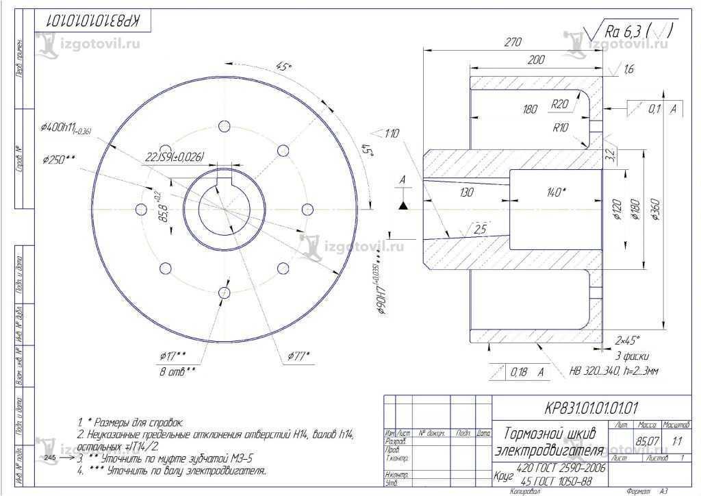 Изготовление деталей по чертежам: шкив и эксцентрик