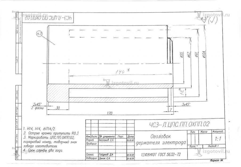 Изготовление деталей по чертежам ( оголовка держателя электрода).