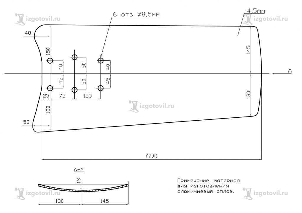 Изготовление деталей по чертежам (лопасти для крышных вентиляторов)