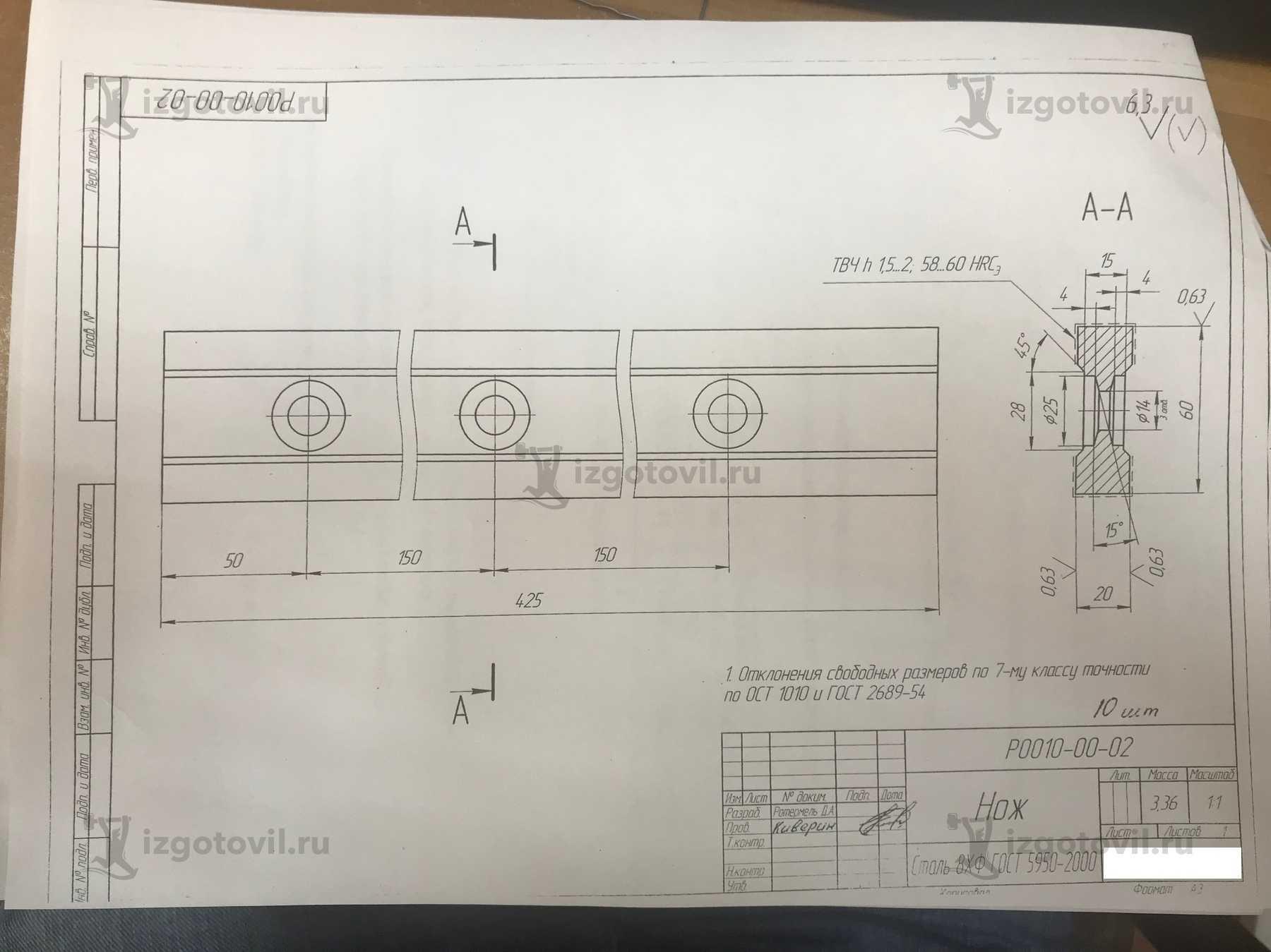 Изготовление деталей оборудования (Нож для гильотины)