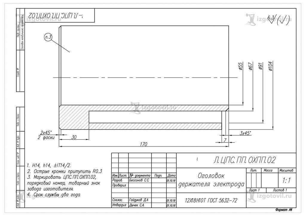Изготовление деталей по чертежам (оголовок держателя электрода).