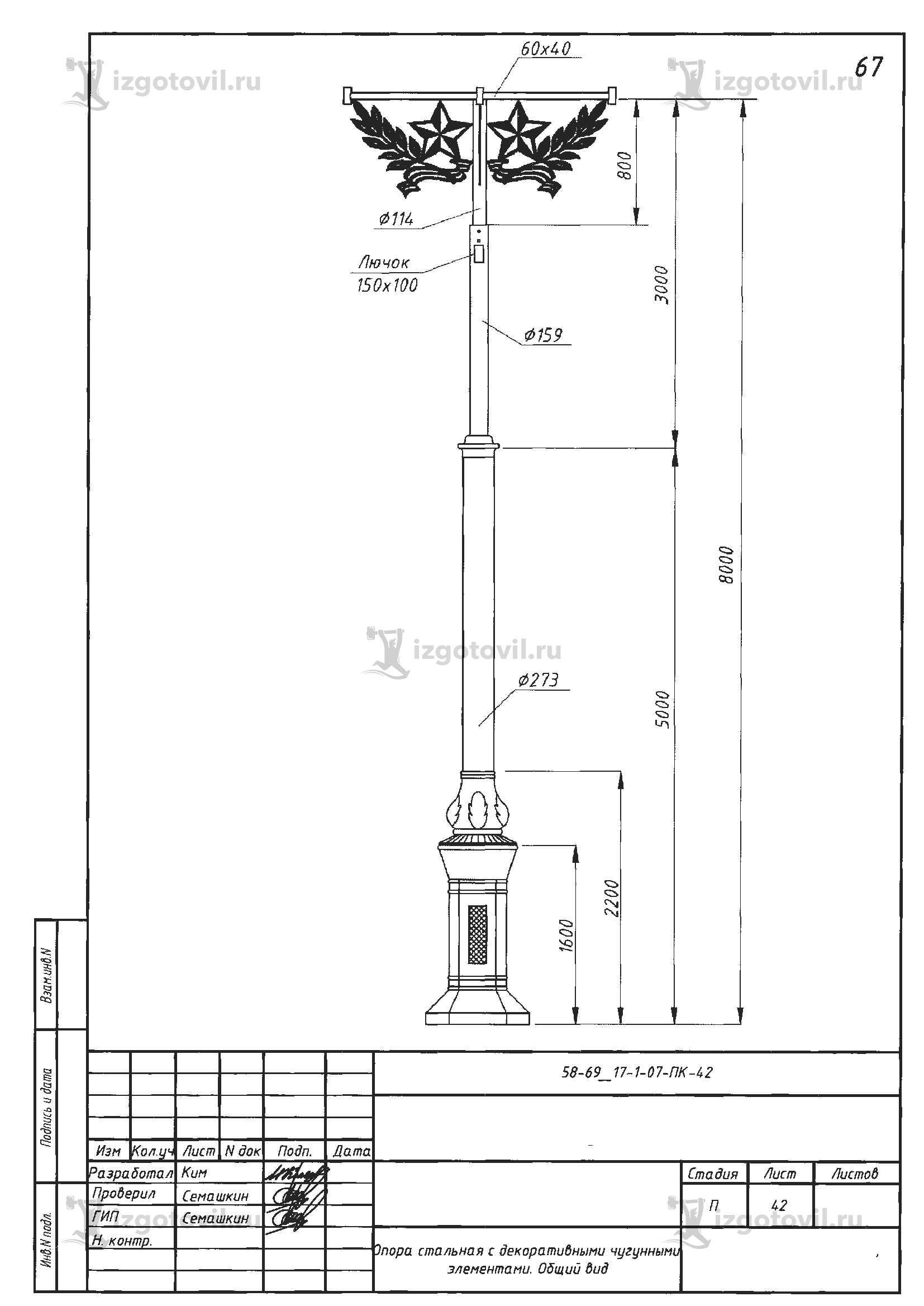 Литейное производство (тумб чугунных для опор освещения )