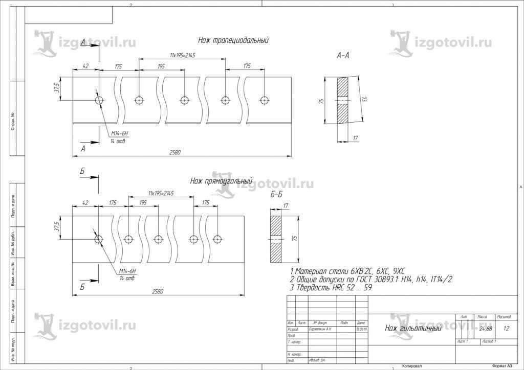 Изготовление деталей по чертежам (ножи гильотинные 2-х видов).