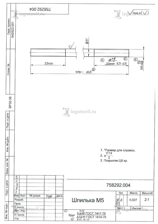 Токарная обработка ЧПУ: изготовление шпилек
