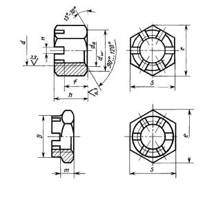 Гайка шестигранная прорезная и корончатая ГОСТ 5932-73, класс точности А
