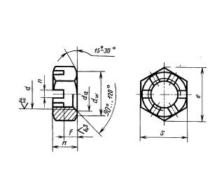 Гайка шестигранная прорезная низкая с уменьшенным размером под ключ ГОСТ 5935-73, класс точности А