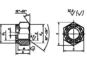 Гайка шестигранная корончатая ГОСТ 10606-72 с диаметром резьбы свыше 48 мм