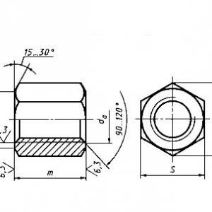 Гайка шестигранная особо высокая ГОСТ 15525-70, класс точности В