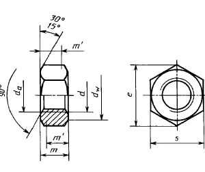 Гайка шестигранная низкая с уменьшенным размером под ключ с диаметром резьбы свыше 48 мм ГОСТ 10610-72, класс точности А