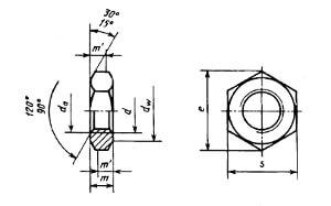 Гайка шестигранная с диаметром резьбы свыше 48 мм нормальной точности ГОСТ 10605-72 (заменен на ГОСТ 10605-94)