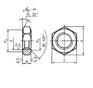 Гайка высокопрочная шестигранная с увеличенным размером под ключ ГОСТ Р 52645-2006 для металлических конструкций