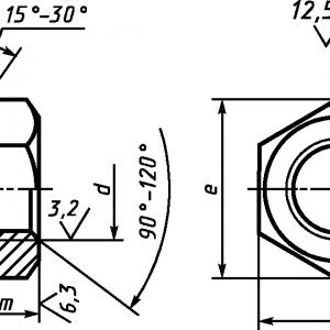Гайка шестигранная высокая (тип 2) ГОСТ ISO 8674-2014 с мелким шагом резьбы, классы точности А и В