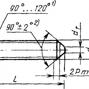Винт установочный ГОСТ 1476-93 с коническим концом и прямым шлицем, класс точности А и В