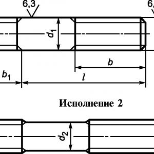 Шпилька с ввинчиваемым концом ГОСТ 22032-76 длиной 1d, класс точности В
