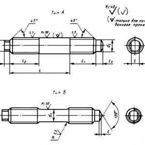 Шпилька упорная на Ру свыше 10 до 100 МПа (свыше 100 до 1000 кгс/ кв. см) ГОСТ 11447-80